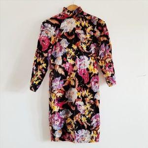New Free People Mandarin Collar Velvet Dress